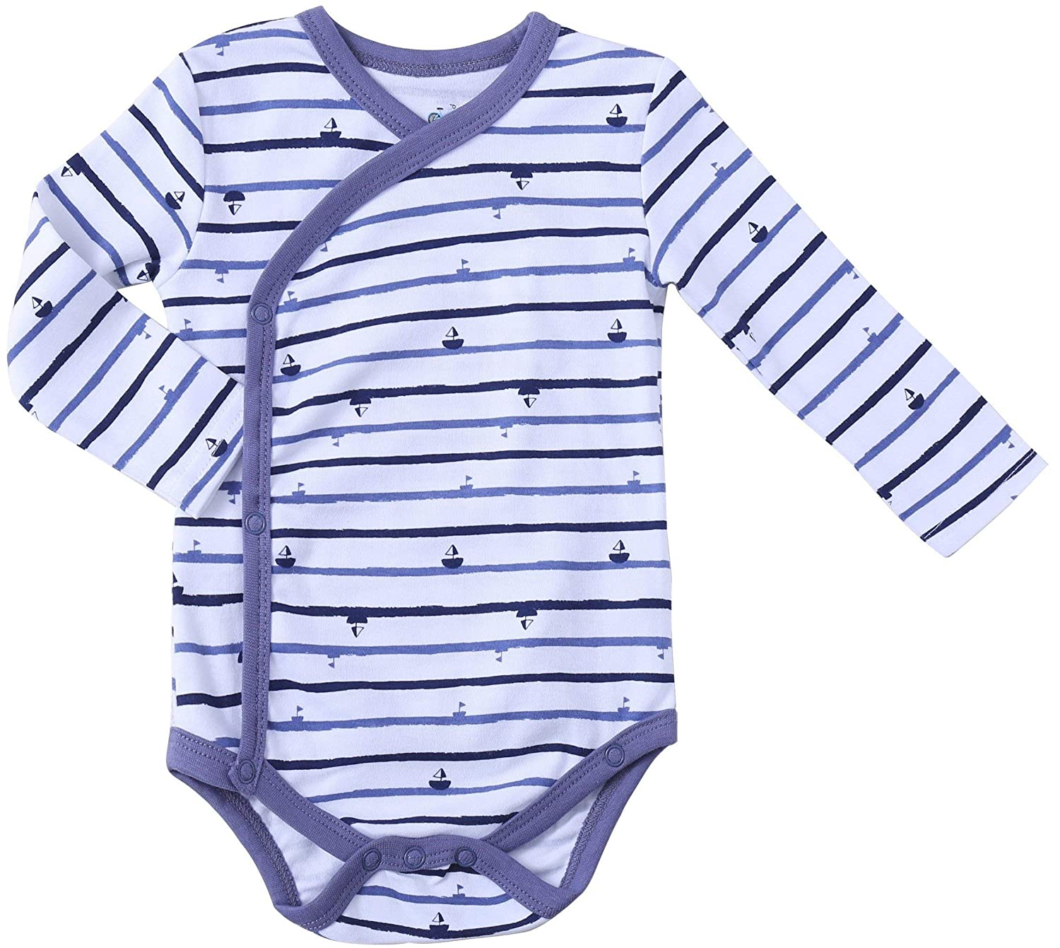 Side Snap Onesie Infant Bundle. Baby Boys 3-Pack Long-Sleeve Kimono Bodysuit Set