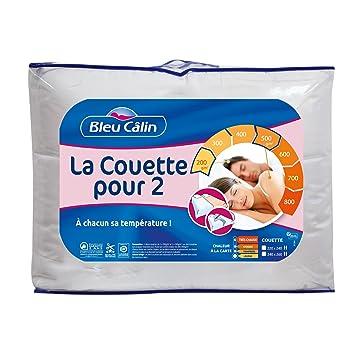 Bleu Câlin Couette Pour Deux Modulable Blanc 220x240 Cm K2p46
