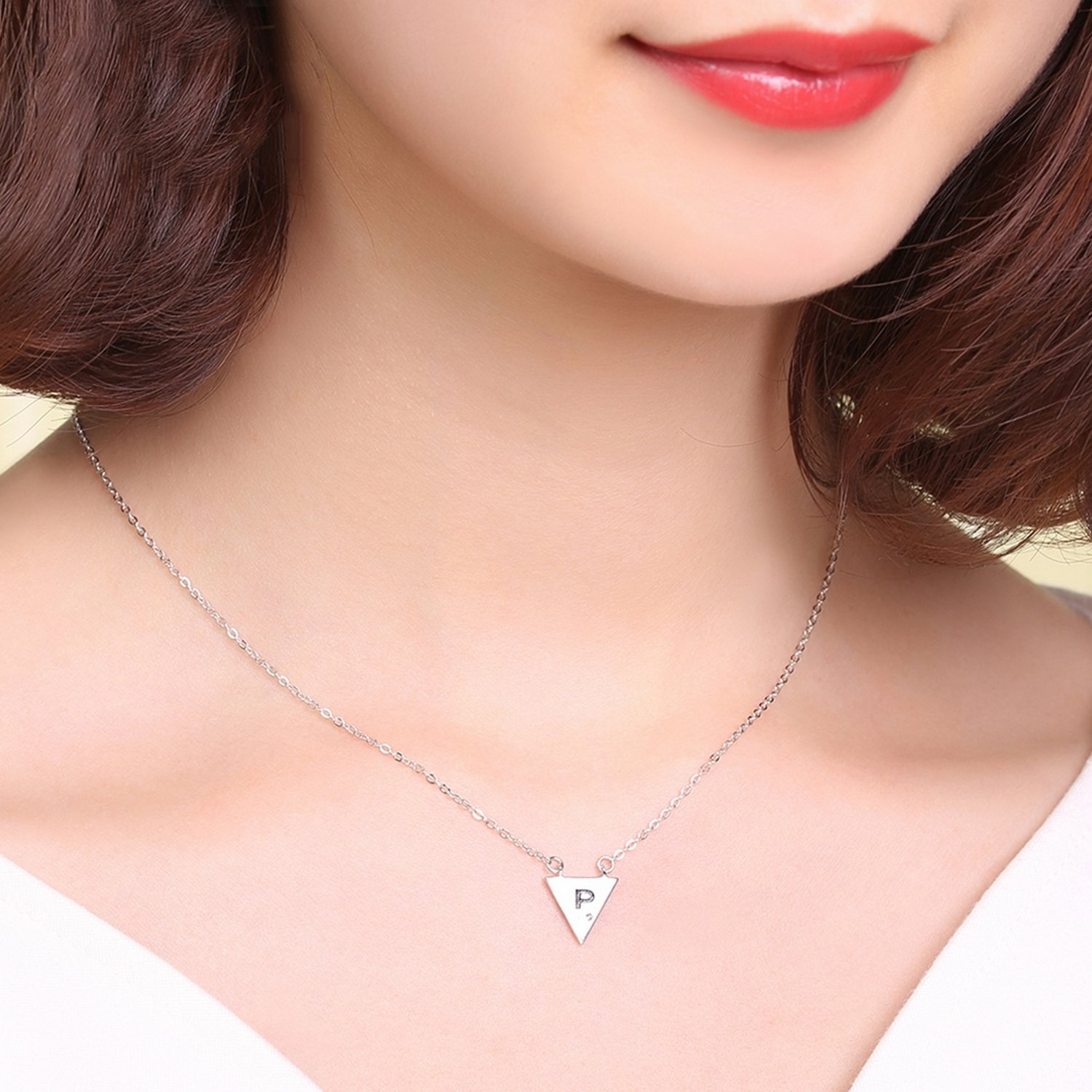 CS-DB Jewelry Silver Triangle Charm Chain Charm Pendants Necklaces