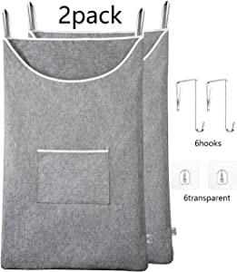 KEEPJOY XL Hanging Laundry Hamper Bag, Door Laundry Hamper with a Pocket Hanging Dorm Clothes Hamper Over The Door 35x22 inch Door Laundry Hamper 600D Oxford Fabric 2Pack Extra Large Grey