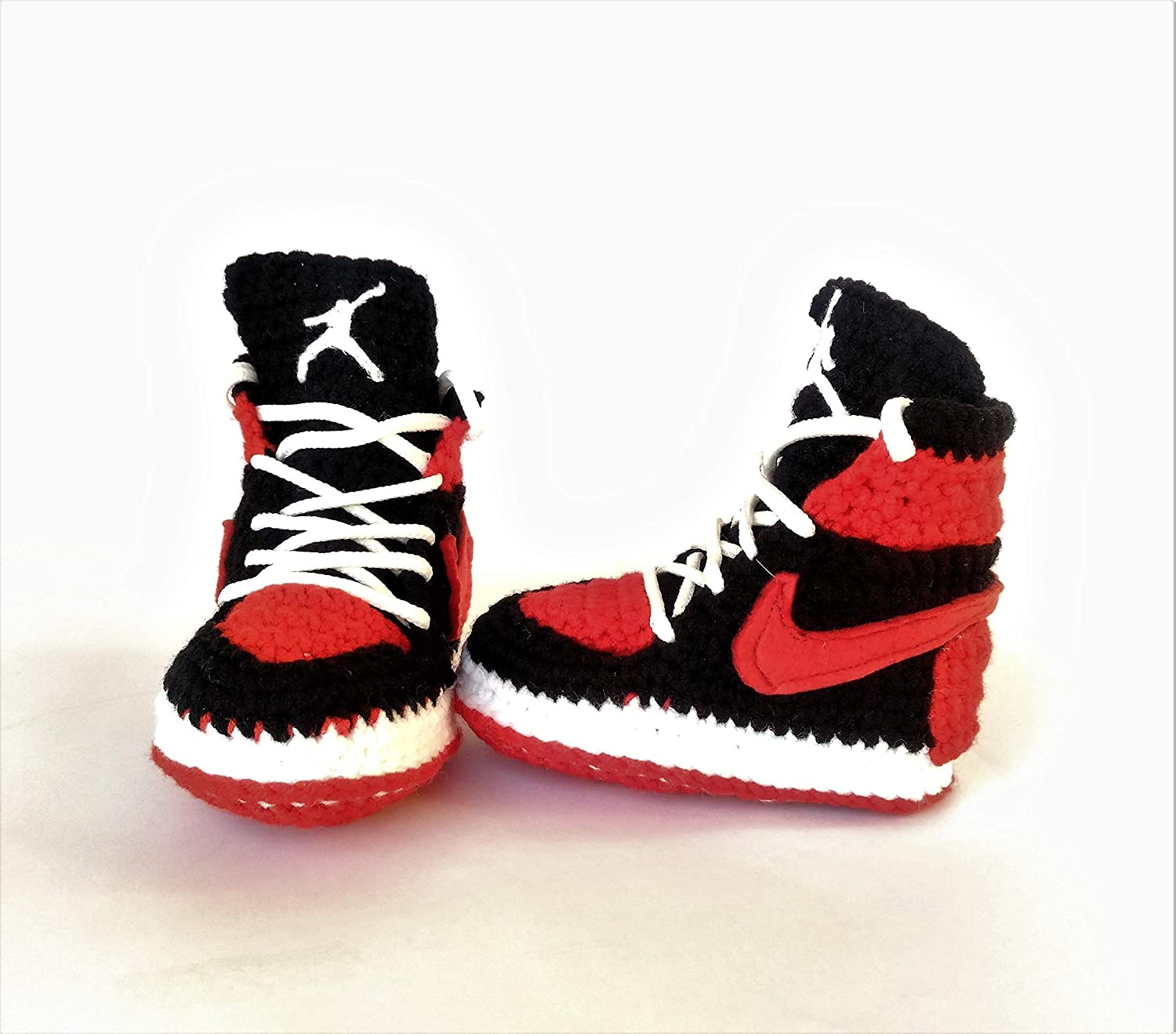 f37096f3bf947 Handmade Air Jordan1 Newborn Crochet Knitted Sneakers - Newborn Baby  Booties Girl & Boy Infant Knitting Slippers - Newborn Boy Gril Coming Home  Outfit ...