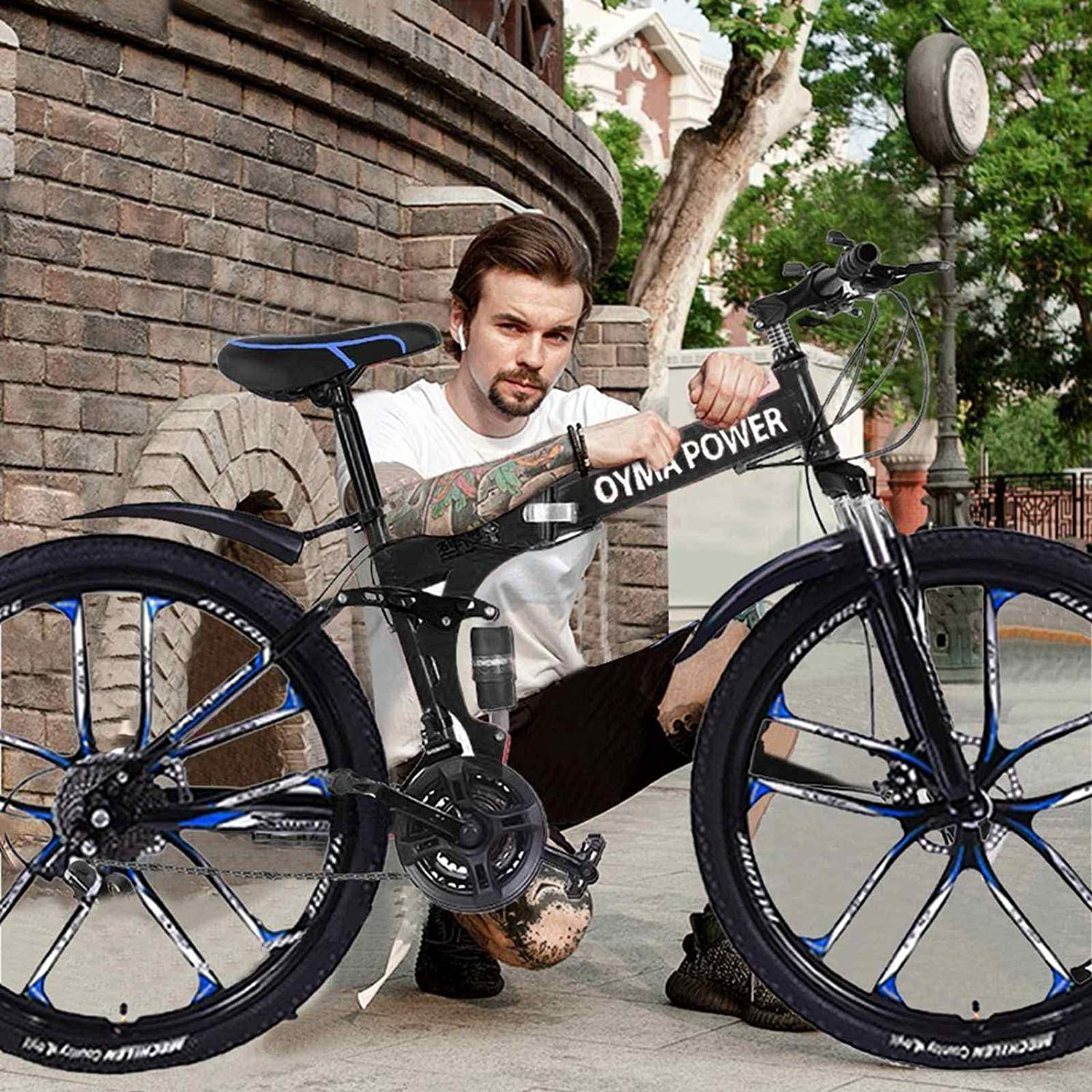 26 Inch 21 Speed Gears Folding Outroad Bike, with 7-Spoke Rims ,Fast Shipment High Carbon Steel Dual Bicycles 2020 Hot Bike Adult Mountain Bikes