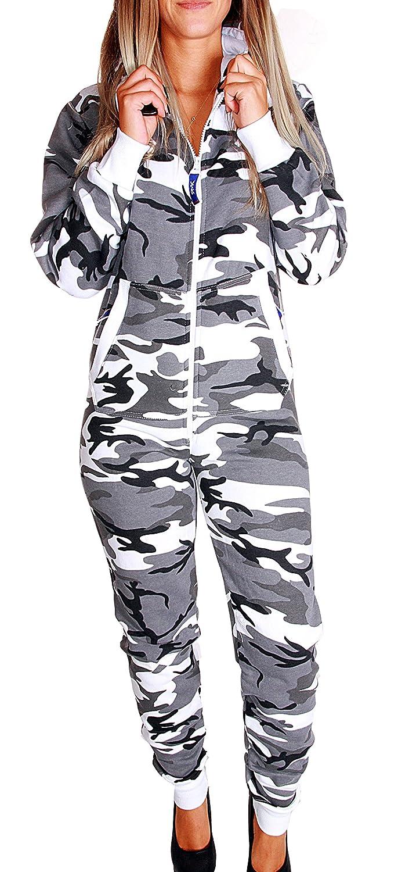 RMK Damen Jumpsuit Jogging-Anzug Karneval Jogger Einteiler Jogging Training Overall Schlafanzug Camouflage Camou Tarn
