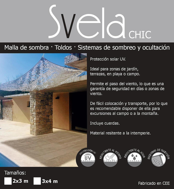 Toldo, Vela, Malla de sombra tamaño 2 x 3 metros SVELA modelo CHIC color blanco: Amazon.es: Jardín