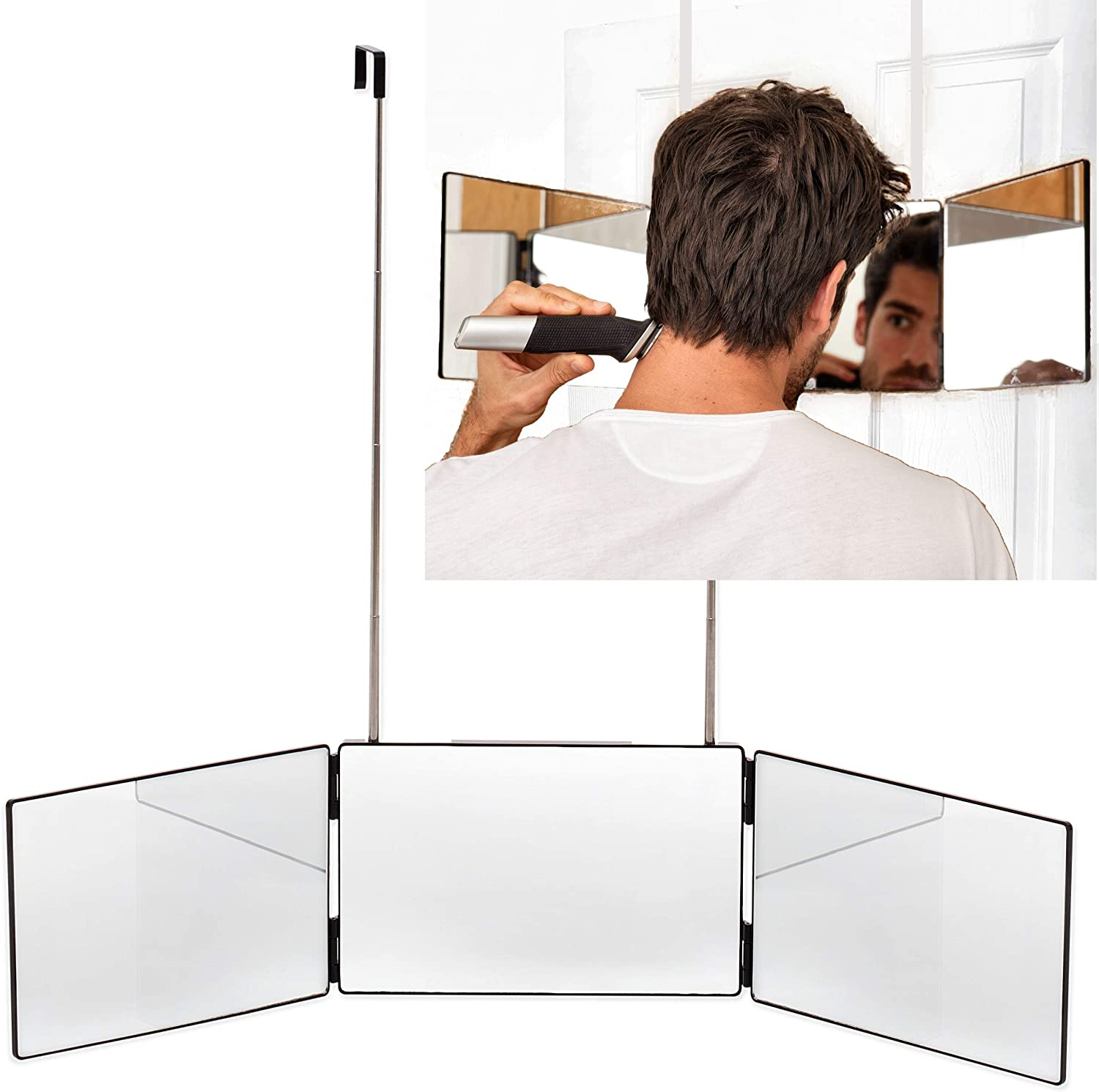 The Barbering Co. 3 Way Mirror | Trifold Mirror for Self Hair Cutting and Styling for Men | DIY Haircut Tool to Cut, Trim, or Shave your Head and Neckline at Home | Adjustable, Portable and Hands-Free