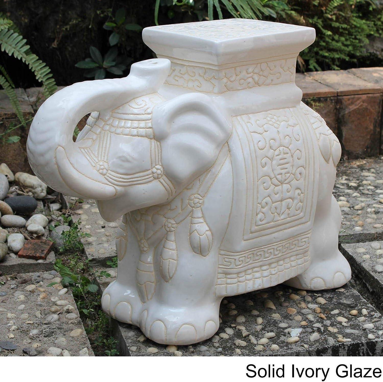 MISC - Estatua de Elefante de Porcelana Grande Color Marfil Azul Zen para decoración de jardín al Aire Libre, Escultura de Bienvenida para el Suelo, decoración, decoración, cerámica: Amazon.es: Hogar