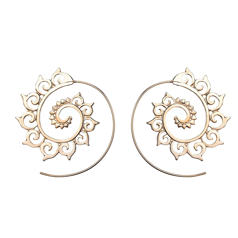 9 Pairs Golden Bohemian Vintage Tribal Swirl Spiral Hoop Earrings Set For Women XGT7X