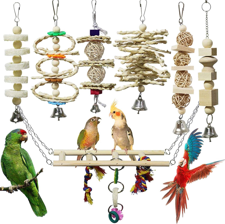 campane colorate da masticare per pappagalli macaw RUZINON Giocattoli da masticare per uccelli pappagalli parrocchetti giocattoli da appendere per uccelli calopette e uccelli conures