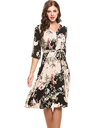 ANGVNS Women's Casual V-Neck 3/4 Sleeves Floral and Leaves Print Hawaiian  Dress
