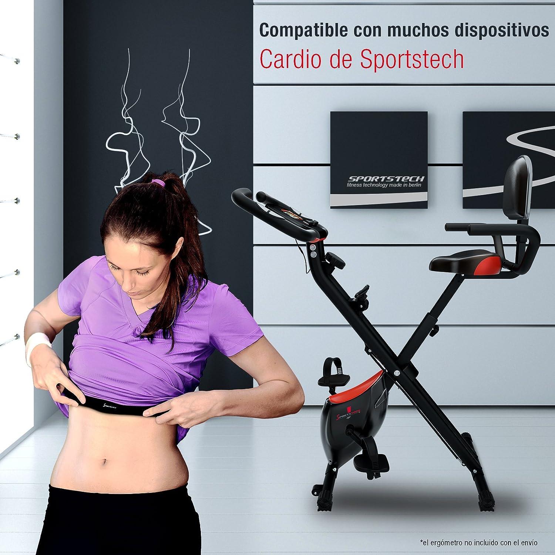 Sportstech Pulsómetro cinturón pectoral para entrenamiento de frecuencia cardíaca, ergómetro, cinta de correr, crosstrainer, bicicleta elíptica y máquinas ...