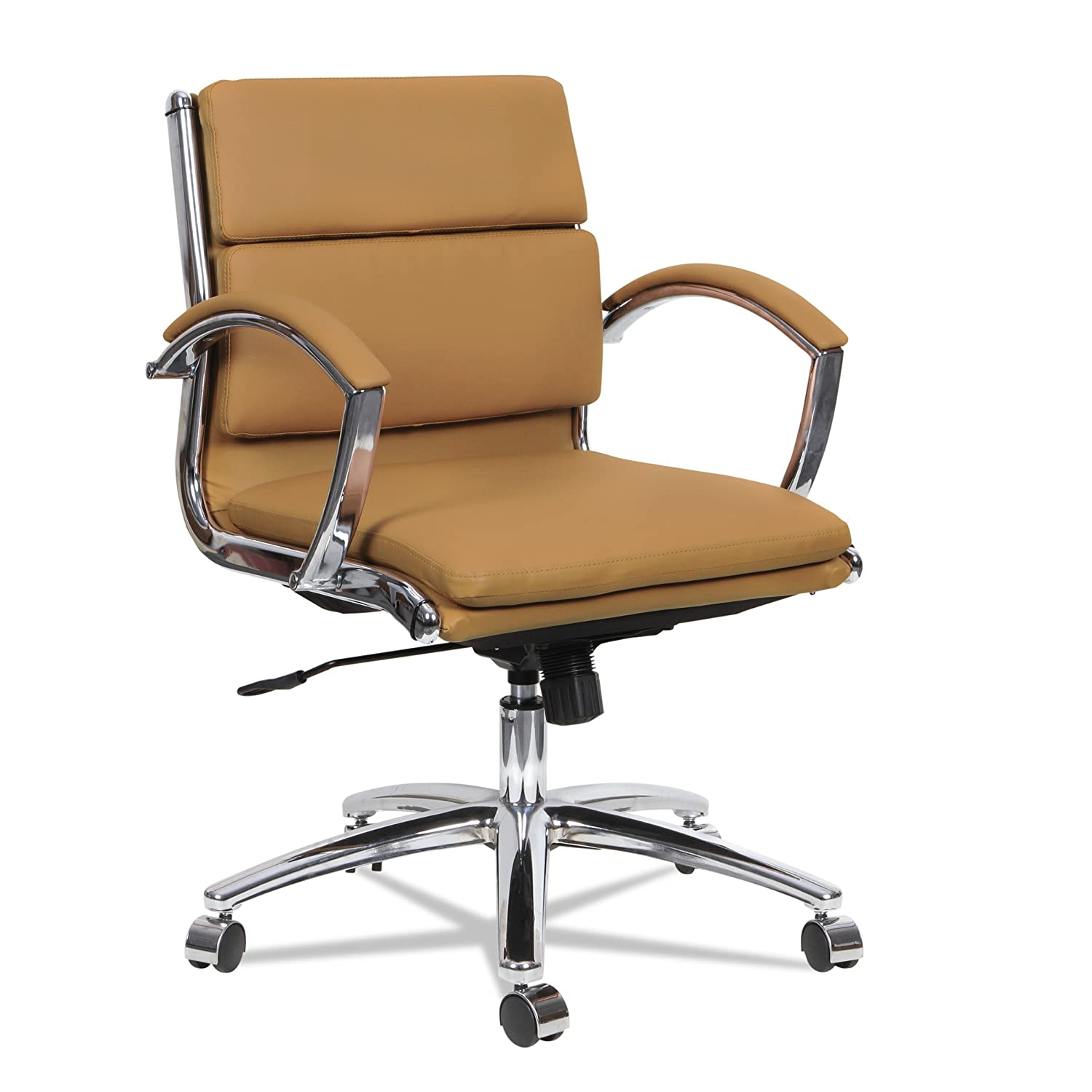 Alera ALE Neratoli Low-Back Slim Profile Chair, Camel Soft Leather, Chrome Frame