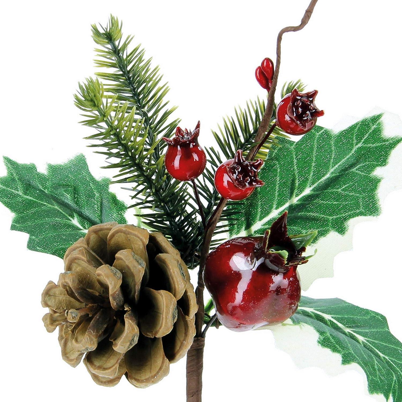 STEFANAZZI 6 Pezzi Lunghezza 18 cm Pick di Agrifoglio con pigna Bacche e Melograno Rosso di Natale Fai da Te Decorazioni per Albero di Natale Rami Decorativi per Ghirlanda