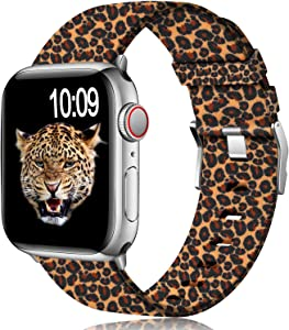 Muranne Compatible with Apple Watch Band 38mm 40mm, Classy Lightweight Washable Woven Canvas Strap for iWatch SE & Series 6 & Series 5 4 3 2 1 for Women Ladies Girls, Leopard