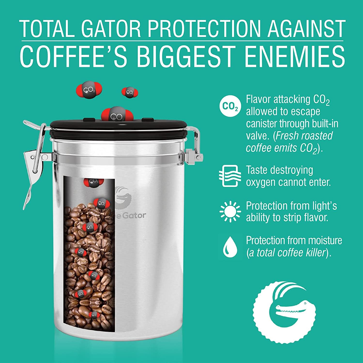 Amazon Coffee Gator Stainless Steel Container Canister with