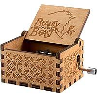 Caja de música temática de madera manivela belleza