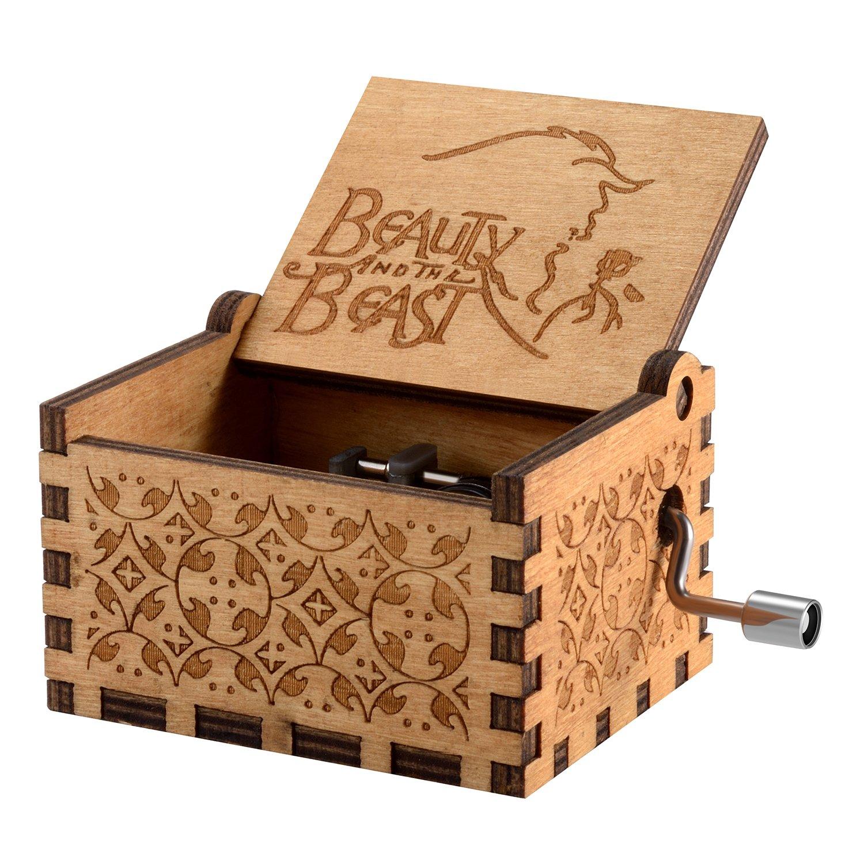 Caja de música temática de madera manivela belleza y la bestia, mecanismo de 18 notas
