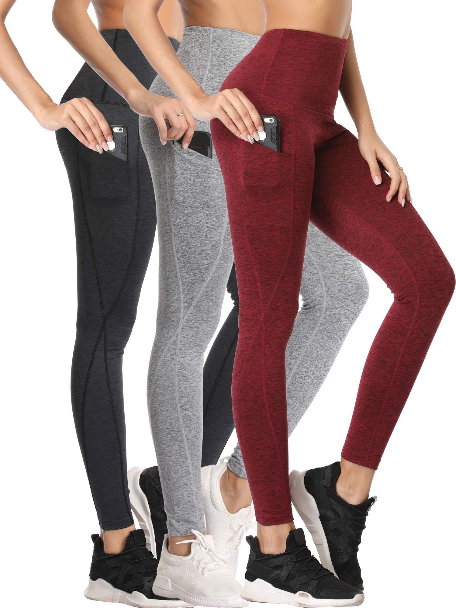 Neleus Women's 3 Pack Yoga Pants Tummy Control High Waist Workout Leggings,Dark Grey/Grey/Burgundy Red,M by Neleus
