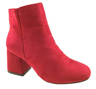 d0f25b62a Ladies Fashion Faux Suede Ankle Boots Side Zip Block Heel Red Size 3-8 (