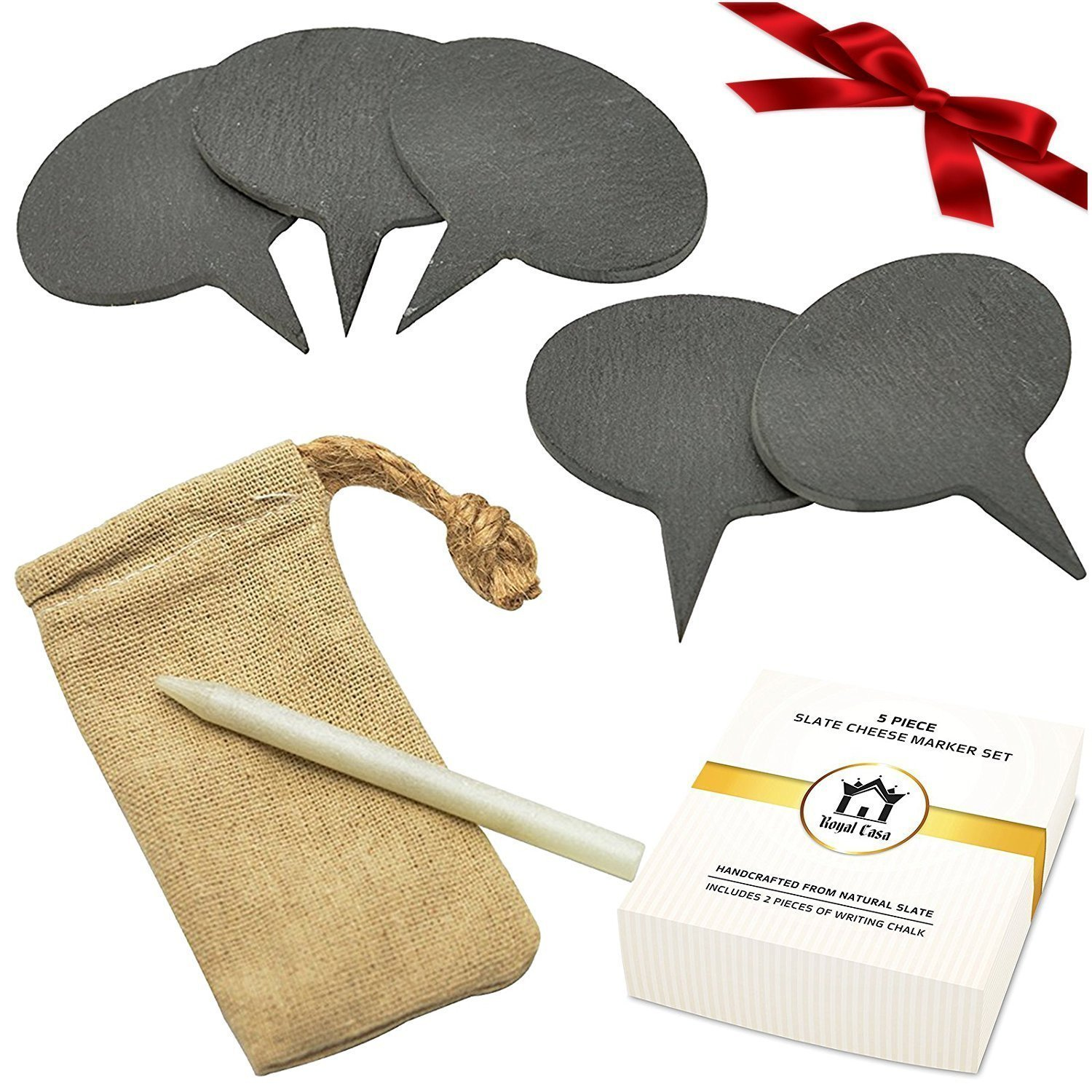 Cheese Markers Set from Royal Casa. A Set of 8 items - 6(!) Natural Slate Cheese Labels and 2 Chalk Markers. A gift Set