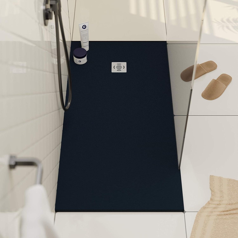 Receveur de douche modèle Ebro - Texture Ardoise et antidérapante -  Finition mat - Toutes les tailles sont disponibles - Fourni avec grille et  siphon