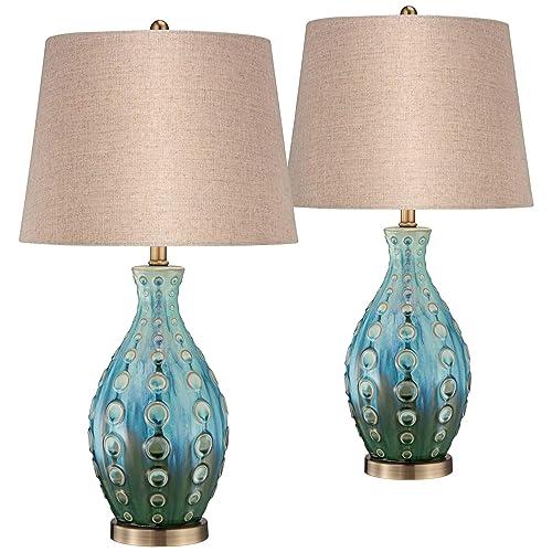 Mid Century Modern Table Lamps Set of 2 Ceramic Teal Handmade Tan Linen Tapered Shade for Living Room Family Bedroom – 360 Lighting