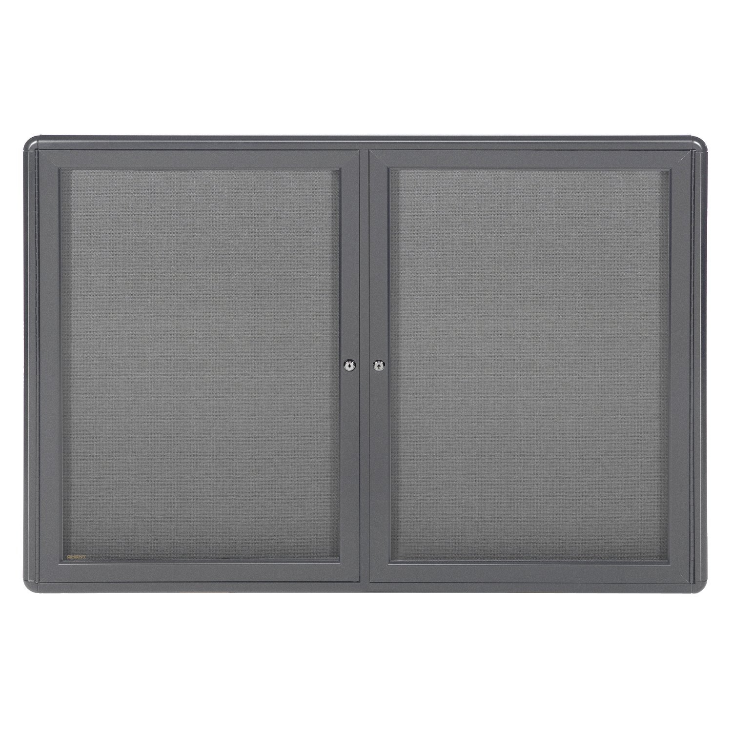 36''x60'' 2-Door Ovation Bulletin Board, Gray Fabric, Gray Frame