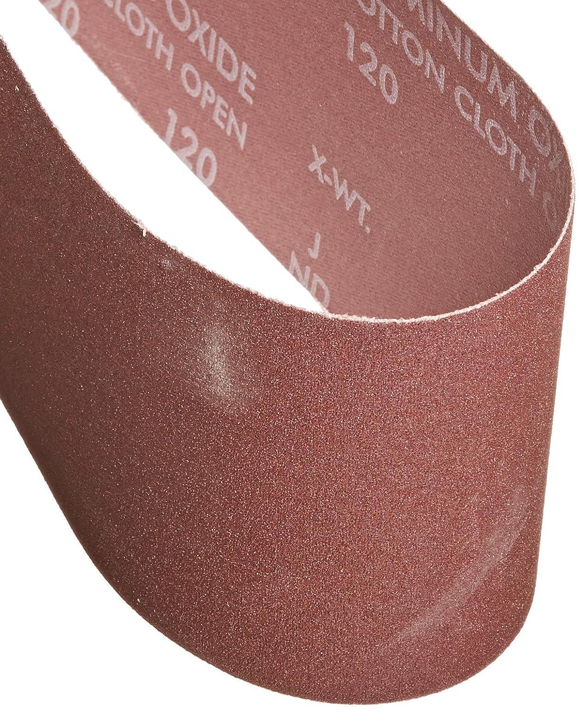 Norton 07660702068 Portable Abrasive Belt, Cotton Fiber Backing, Aluminum Oxide, 24' Length x 4' Width, Grit 120 Very Fine (Pack of 5) 24 Length x 4 Width Saint-Gobain Abrasives Inc