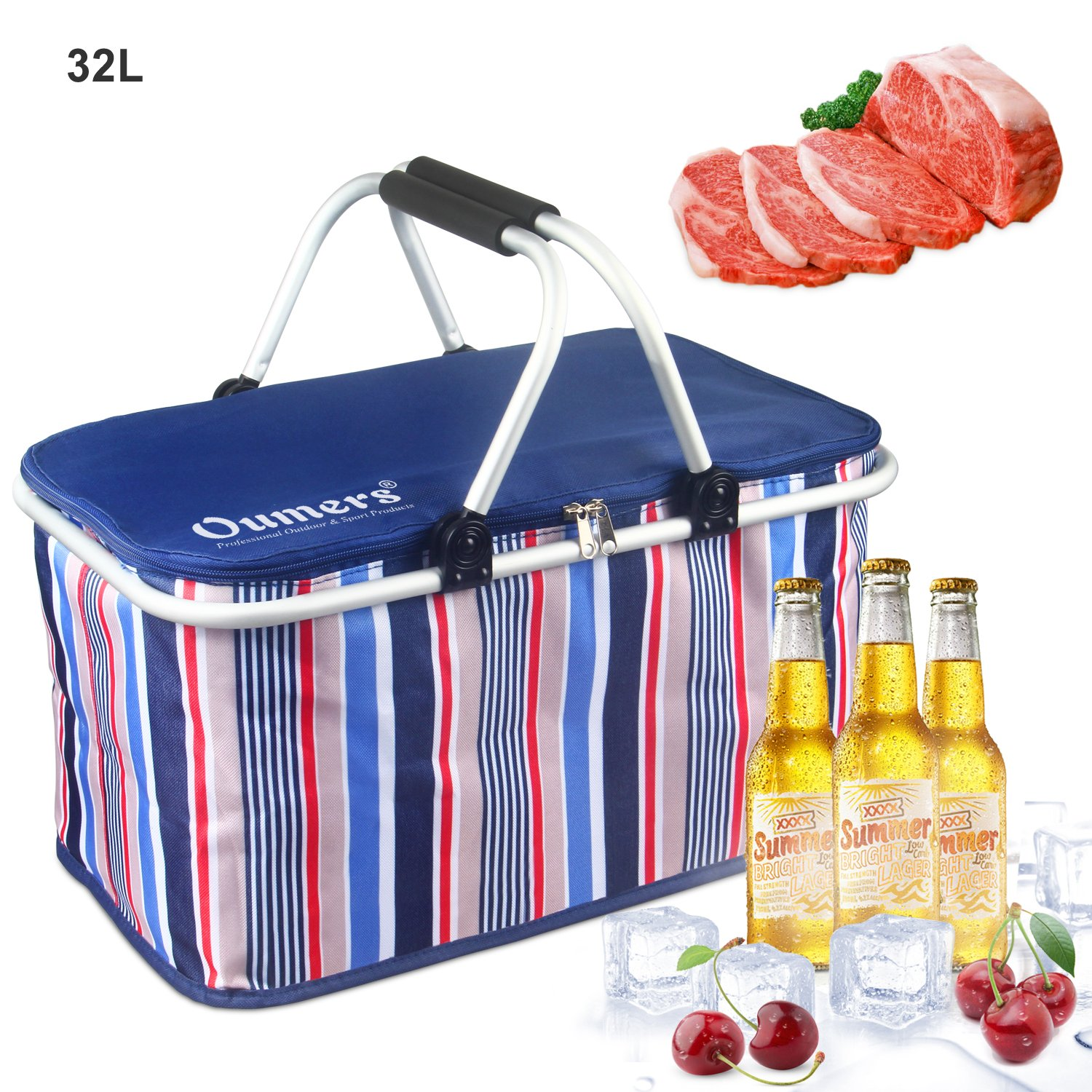 Picnic Caddy Outdoor Basket Folding Portable Large Waterproof ...