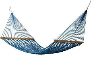 product image for Hatteras Hammocks DC-13CB Large Coastal Blue Duracord Rope Hammock with Free Extension Chains & Tree Hooks, Handcrafted in The USA, Accommodates 2 People, 450 LB Weight Capacity, 13 ft. x 55 in.