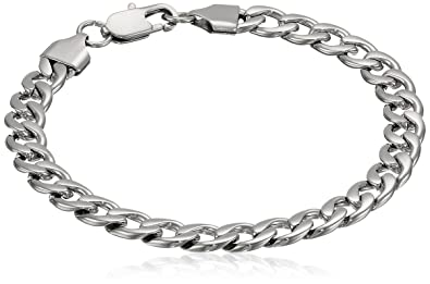 da5933c5899 Image Unavailable. Image not available for. Color  Men s Stainless Steel  Curb Bracelet