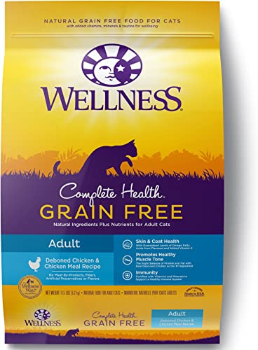 Wellness Complete Health Natural Grain Free Deboned Chicken Chicken Meal Dry Cat Food, 11.5 Pound Bag