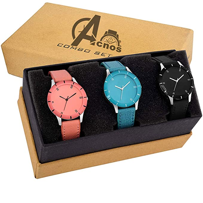Multi-Colour Set of 3 Combo Watches for Women and Girls_G-605-black - Orange-Sky Blue