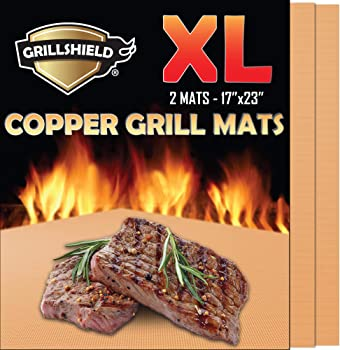 GrillShield Extra Large Copper Grills and Bake Mats Set of 2 - Best Gift