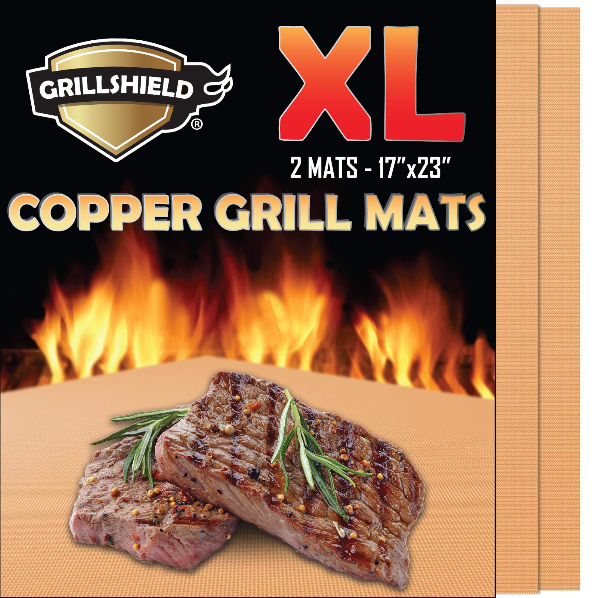 GrillShield Extra Large Copper Grill and Bake Mats Set of 2 - Best Gift - 17 X 23 inches Non Stick Mats for BBQ Grilling & Baking, Reusable and Easy to Clean by GrillShield
