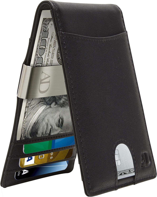 Slim Money Clip Wallets For Men - Bifold Mens Wallet RFID Front Pocket Minimalist Credit Card Holder With Gift Box