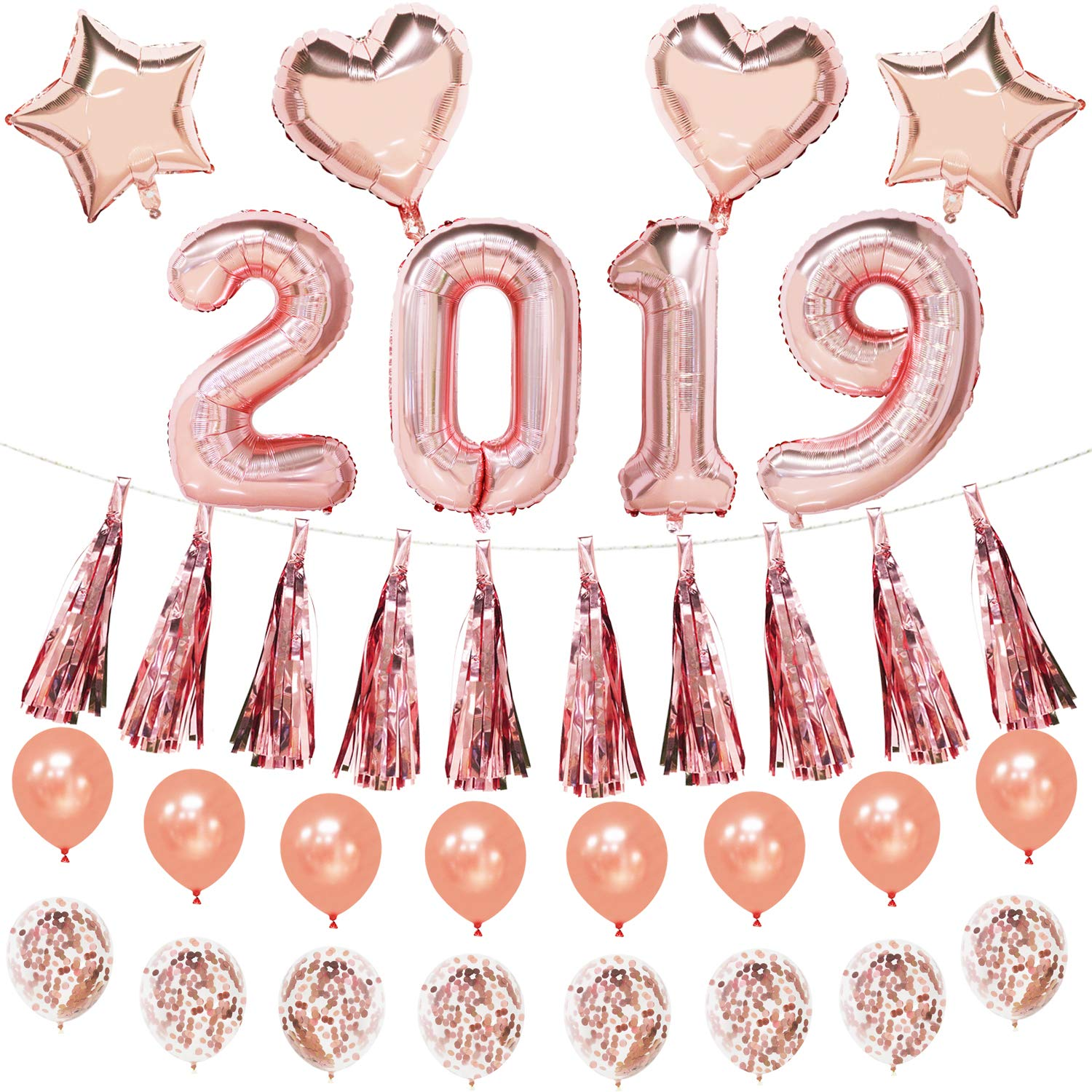Mylar Foil Heart and Star Balloons 2019 Number Balloons Rose Gold Latex and Confetti Balloons Tassel Garland Graduation and New Year Eve Party Supplies Mosoan Rose Gold Party Decorations Set