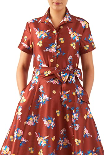 1940s Style Dresses and Clothing Floral print dupioni slim fit button-up shirt $48.95 AT vintagedancer.com