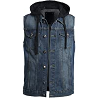 OLLIN1 Mens Casual Denim Vest Jacket with Hoodie