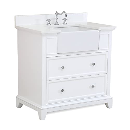 Sophie 36 Inch Bathroom Vanity (Quartz/White): Includes A White Quartz