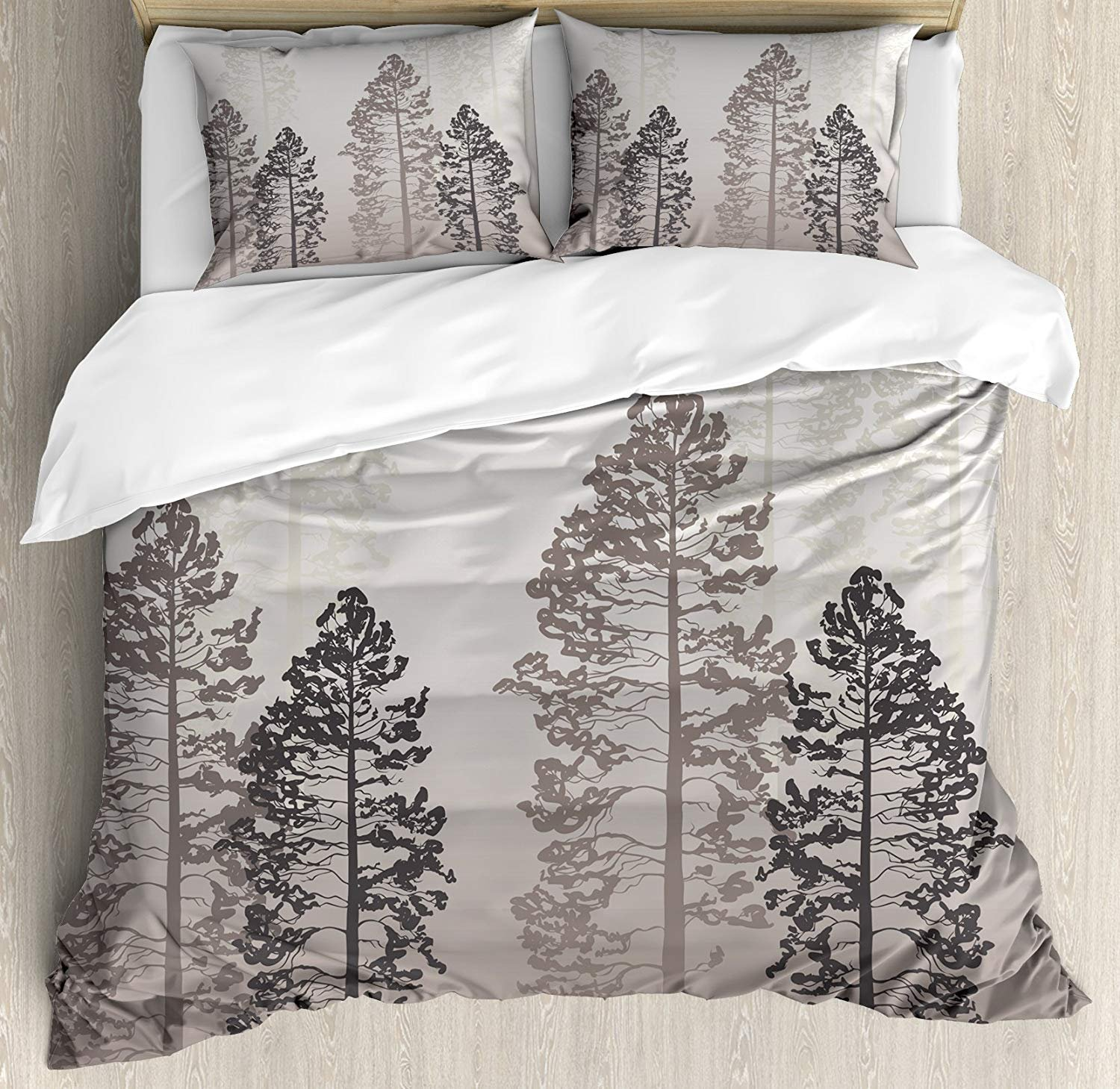 Twin Size Country 4 piece Duvet Cover Set Bedspread, Pine Trees in the Forest on Foggy Seem Ombre Backdrop Wildlife Adventure Artwork, 4pcs Bedding Set for Kids/Childrens/Adults Decor, Warm Taupe