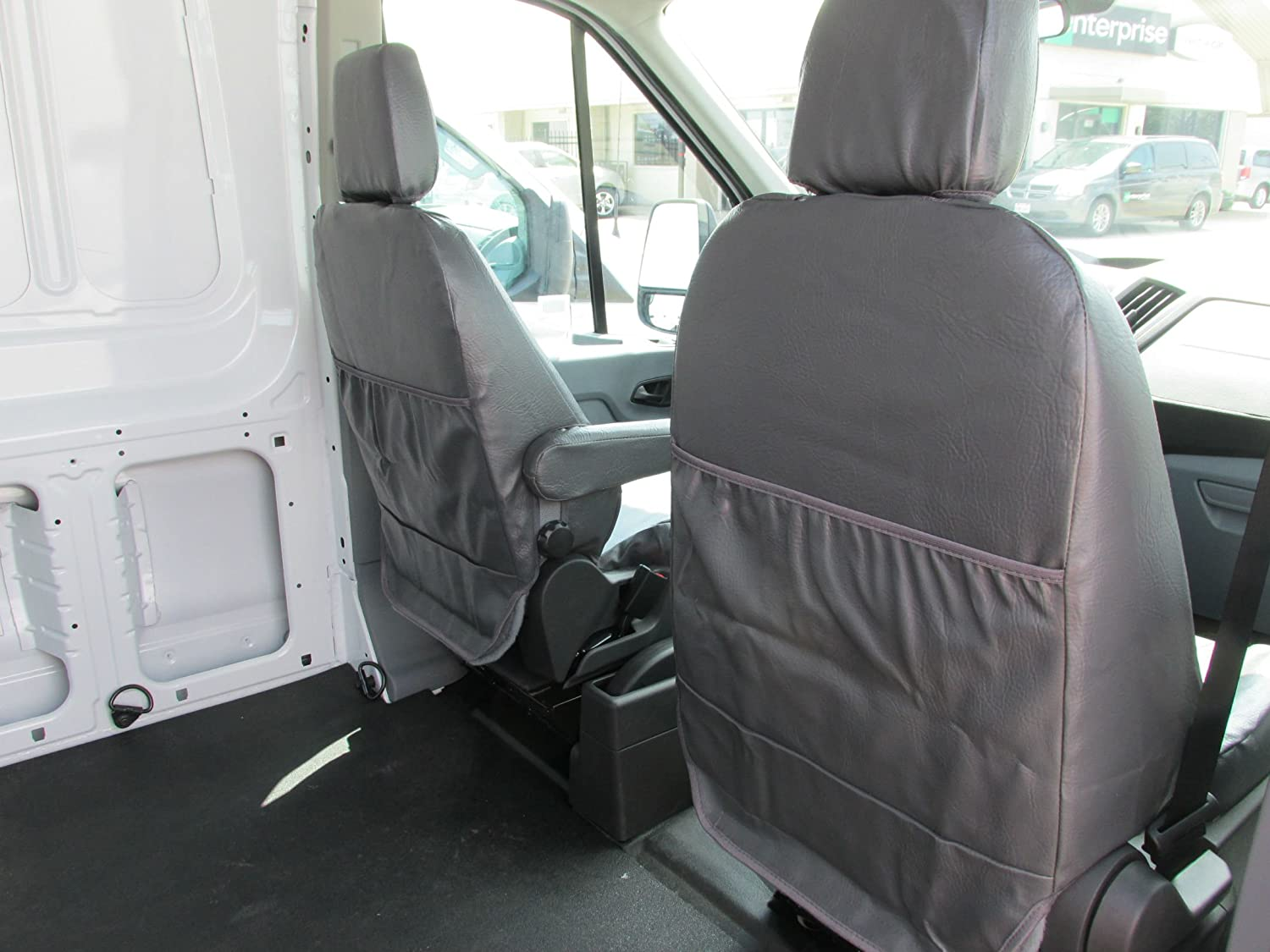 Gray Twill Durafit Seat Covers.2014-2018 Ford Transit Front Bucket Seat Covers
