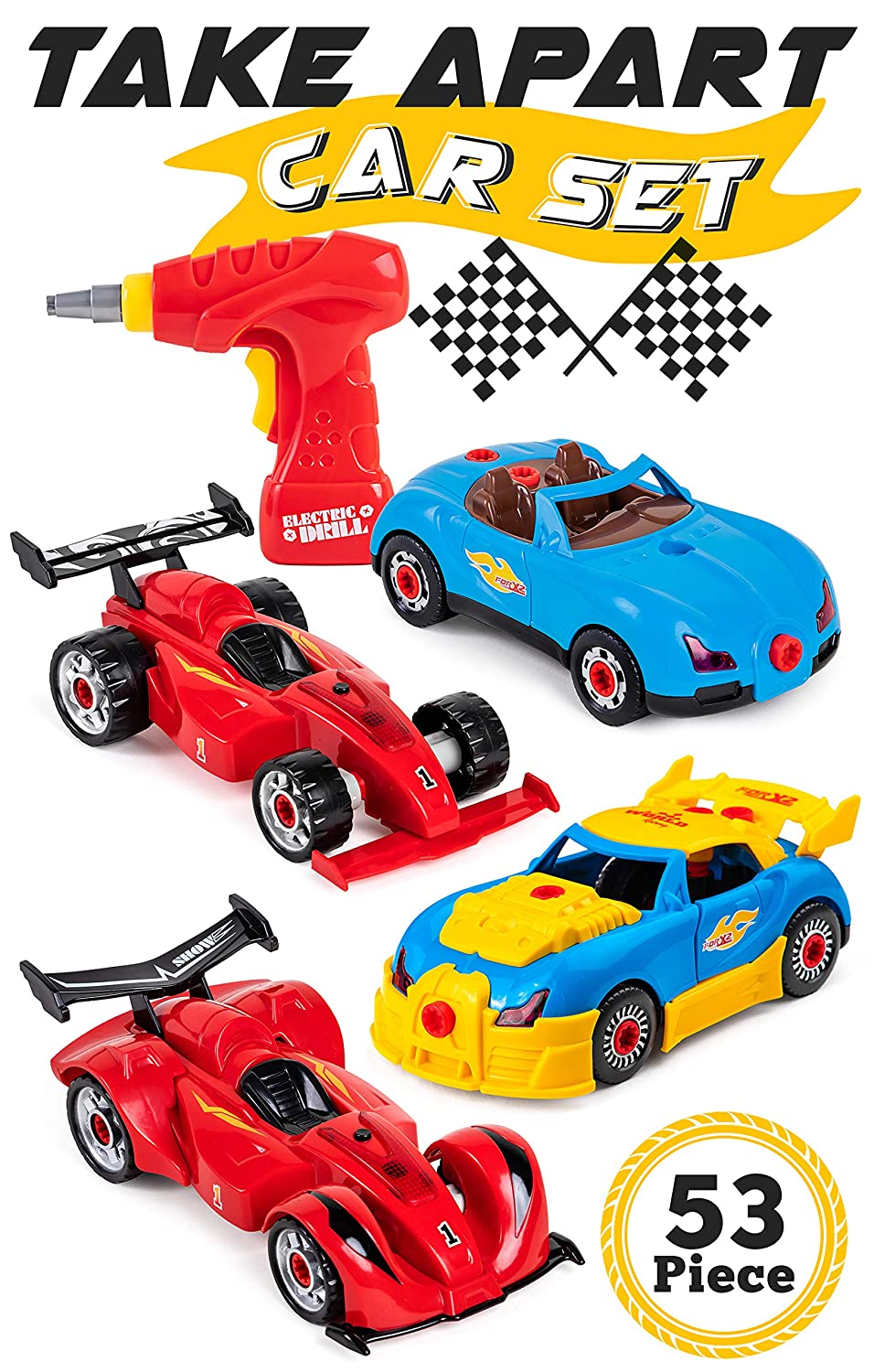 53-Piece Gift for Boys Racing Car Take Apart Toy Set for Kids STEM Toys Construction Building Kit with 2 Cars and Functioning Drill Tool Girls and Toddlers