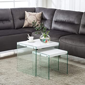 Outstanding Mecor Nesting Table Set Of 2 Glass Side End Coffee Table Home Interior And Landscaping Oversignezvosmurscom