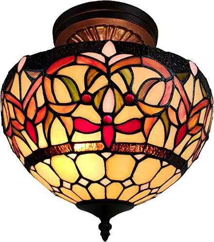 Tiffany Style Hanging Pendant Lamp Semi Flush Ceiling Fixture Shade 12″ Wide Stained Glass Red Green Orange Antique Vintage 2 Light Living Dining Room Kitchen Gift AM1081HL12B Amora Lighting