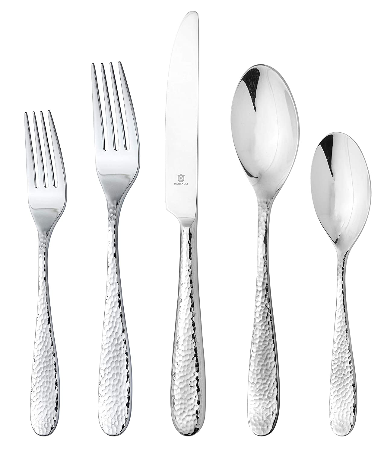 DANIALLI 40 Piece Silverware Set For 8, 18 10 Stainless Steel Silverware Set, Modern Hammered Flatware Set, Include Knife/Fork/Spoon & Long Teaspoon/Salad Fork Mirror-Polished Dishwasher Safe Cutlery