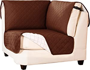 subrtex Reversible Sofa Corner Sectional Protector Washable Furniture Protector Sectional Corner Sofa Slip Cover for Pets L Shape Corner Covers with Elastic Straps 30x30 Inch (Chocolate)