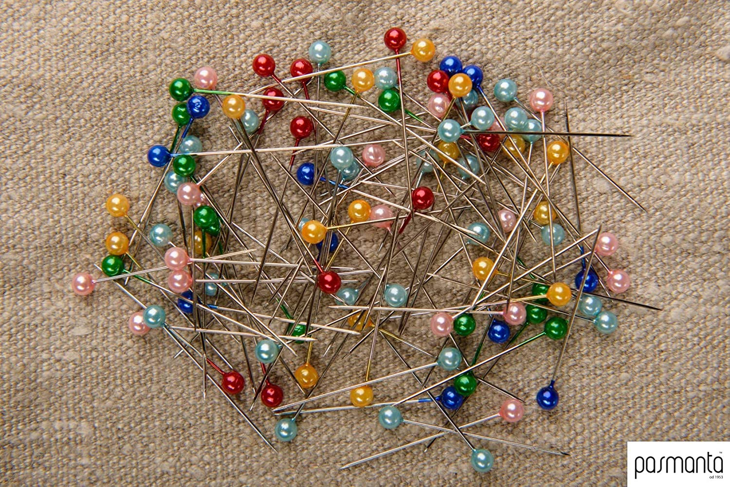 Sturdy Durable Excellent Finish Multicolour 100 Pieces Professional Sewing Pins by Pasmanta Since 1953 Fabric Dressmaking Fancy Pearly Headed