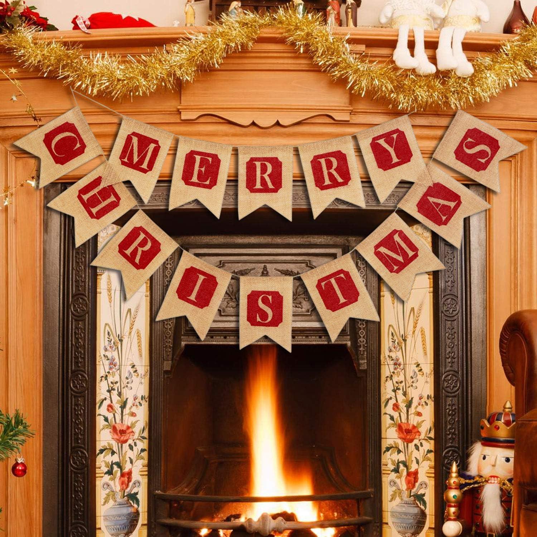 Thxtoms Merry Christmas Burlap Banner, Indoor Vintage Decorations für Wall, Baum und Fireplace