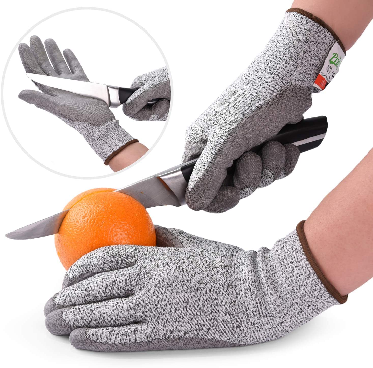Cut Resistant Gloves PU coated. Food Grade Level 5 Safety for Cutting, Slicing.(Small)