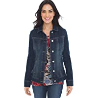 Chico's Women's Classic Cut Button Front Stretch Lightweight Collared Denim Jacket
